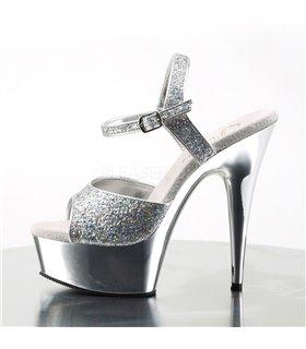 Plateau High Heels DELIGHT-609G - Silber Glitter