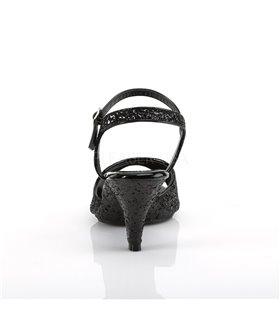 Glitter Sandalette BELLE-309G - Schwarz