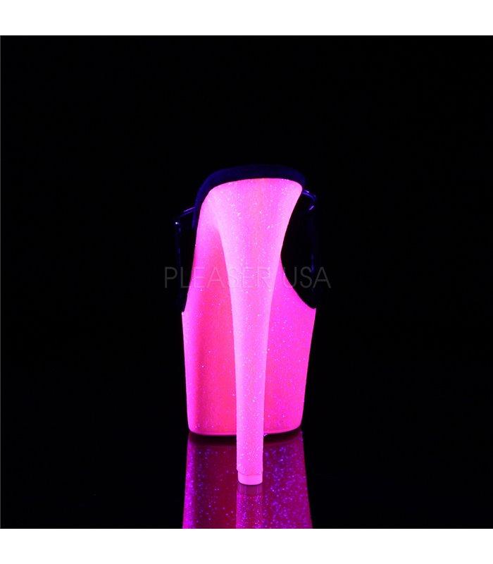 Plateau Pantolette SKY-301UVG - Schwarz/Neon Pink