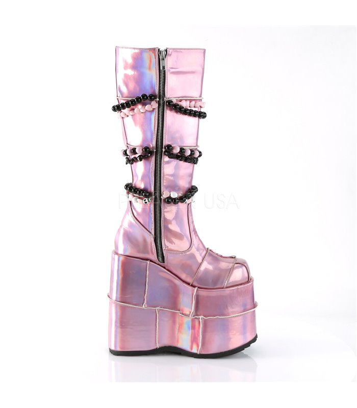 Demonia Plateau Stiefel SLAY-301 rosa