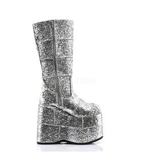Plateau Stiefel STACK-301 - Glitter Silber