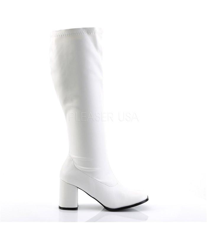 Retro Stiefel GOGO-300WC (Weitschaftstiefel) - PU Weiß
