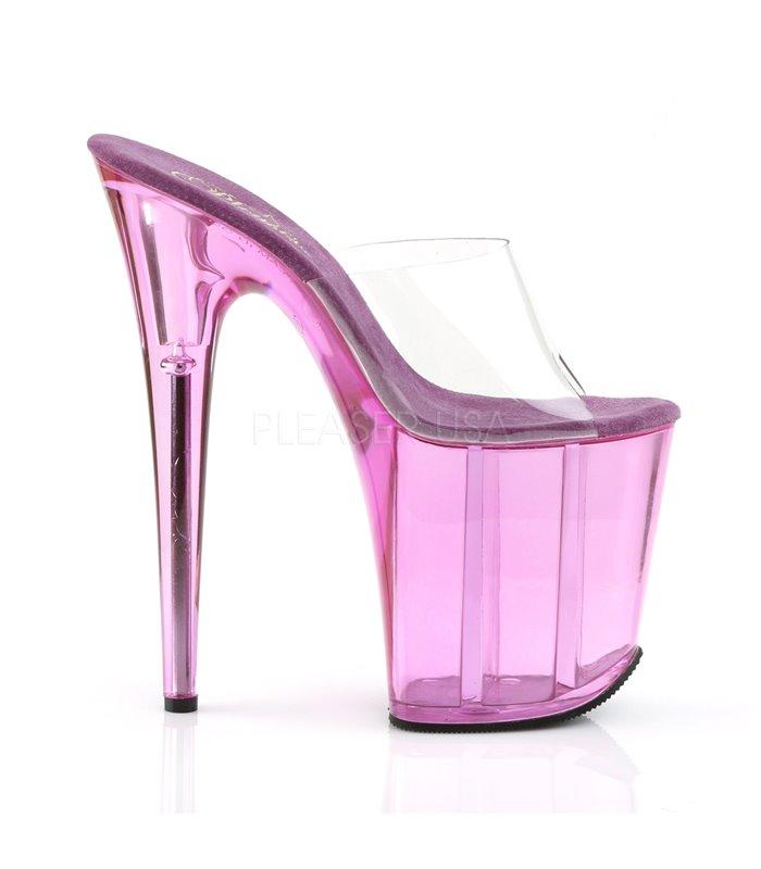 Pleaser Plateau Pantoletten Pleaser FLAMINGO-801T Transparent Pink