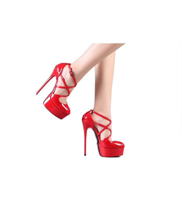 HERREN PUMPS DAMENSCHUHE High Heels Rot Lack 10,5 11 cm