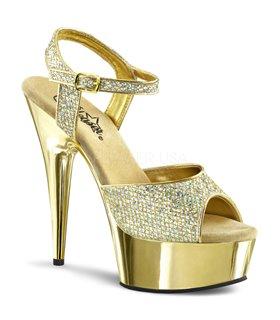 Plateau High Heels DELIGHT-609G - Gold Glitter