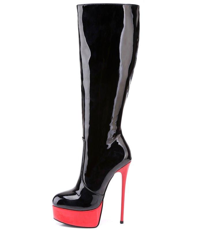 sale retailer 5c8d3 5db41 Giaro Galana 1003 Damen Herren Unisex Lack Plateau Stiefel schwarz rot