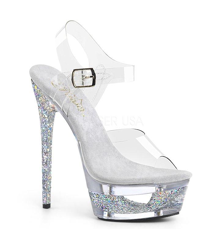 sports shoes 37a26 46ecd Pleaser Plateau Sandaletten ECLIPSE-608GT silber online günstig kaufen