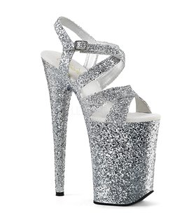 Extrem Plateau Heels INFINITY-997LG - Glitter Silber