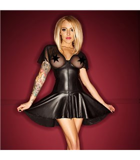 Wetlook Mini Kleid mit Reißverschluss