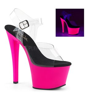 Plateau High Heels SKY-308UV - Neon Pink