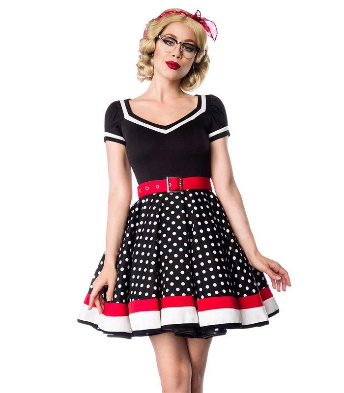 brand new 43fef b728a Belsira Kleid mit Gürtel schwarz/weiß/rot online kaufen