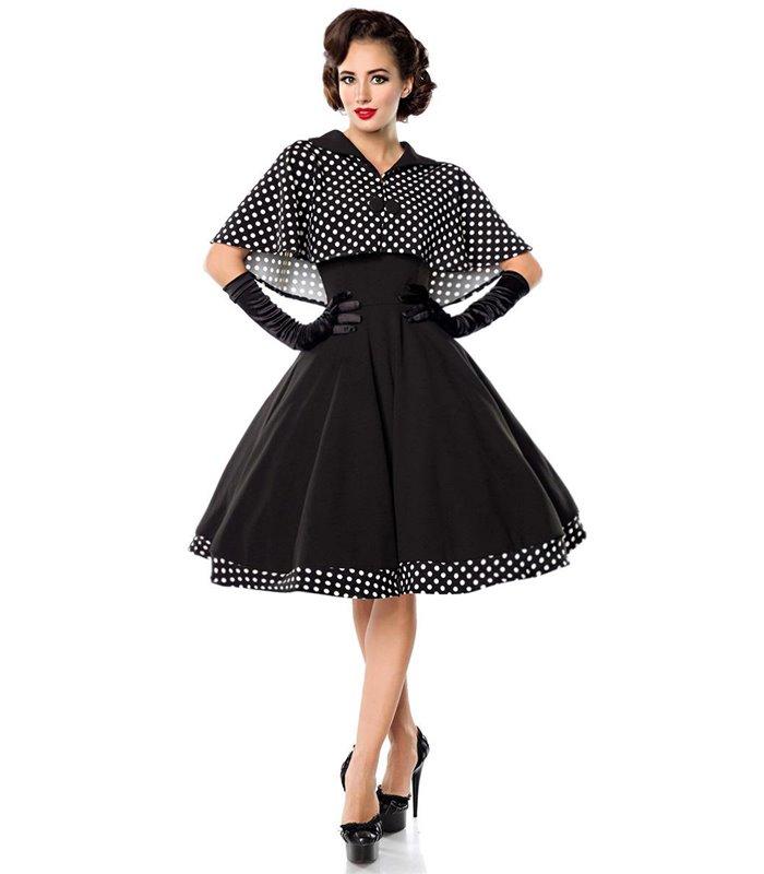 Belsira Swing Kleid mit Cape schwarzweiss midi Kleider