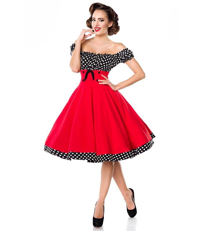 Belsira schulterfreies Swing Kleid schwarzweiss midi Kleider