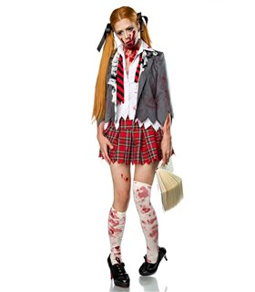 Sexy Zombie Schoolgirl Komplettset Karneval Halloween