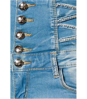 Atixo Jeans-Shorts mit hochgeschnittenem Bund blau - Hosen & Leggings