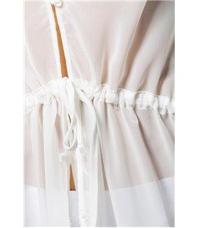 Grey Velvet Kimono weiß