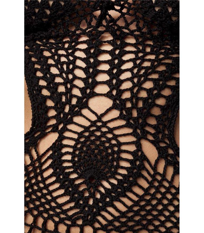 Atixo Häkel-Kleid schwarz