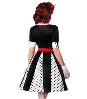 Belsira Godet-Kleid weiß/schwarz/rot