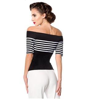 Belsira Jersey-Top schwarz/weiss/dots - Tops & Shirts