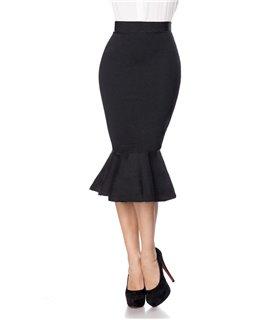 Belsira Bleistiftrock mit Volant schwarz - Röcke