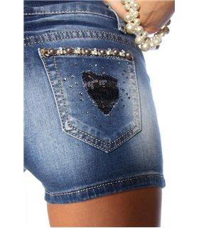 Atixo Jeans-Shorts mit Paillettenapplikation blau - Hosen & Leggings