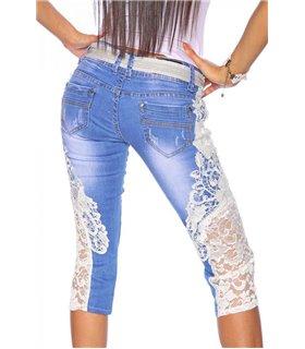 Sexy Capri-Jeans mit Spitze Hose original online kaufen