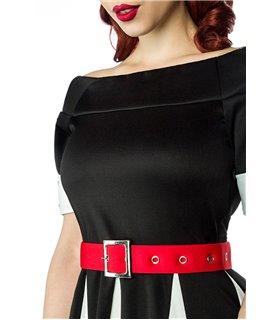 Belsira Godet-Kleid schwarz/weiß/rot