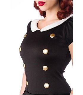 Belsira Kleid mit Bubikragen schwarz/weiß