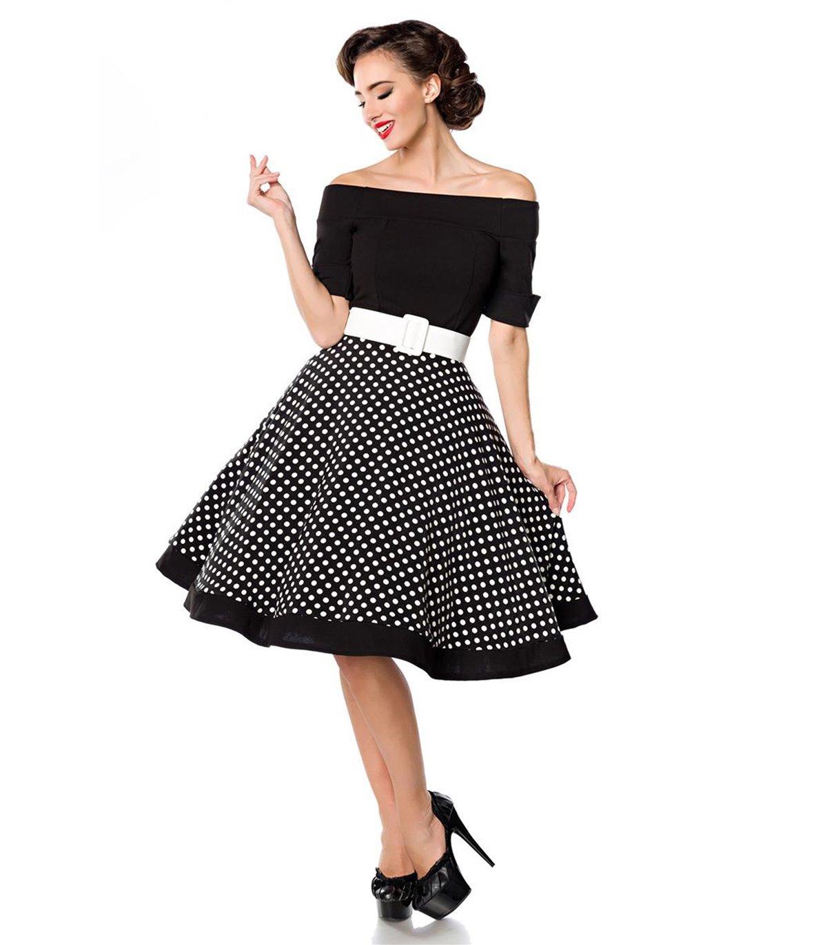 Belsira schulterfreies Swing-Kleid schwarz/weiss - midi ...