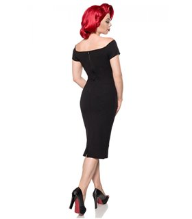 Belsira schulterfreies Kleid schwarz - midi Kleider