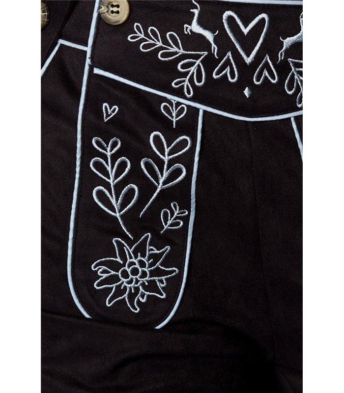 Dirndline Trachtenhose mit Stickereien schwarz
