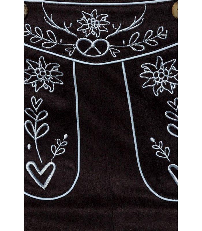 Dirndline Trachtenmini mit Stickereien schwarz