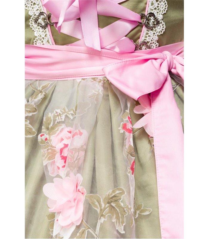 Dirndline Dirndl mit Blumenschürze grün/pink - Dirndl