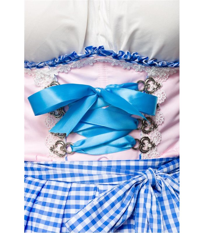 Dirndline Romantisches Unterbrustdirndl rosa/blau - Dirndl
