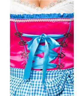 Dirndline Dirndl mit Karoschürze blau/pink - Dirndl