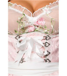 Dirndline Mini-Brokat-Dirndl inkl Spitzenbluse rosa - Dirndl