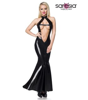 Saresia Wetlook-Kleid schwarz - Clubkleider