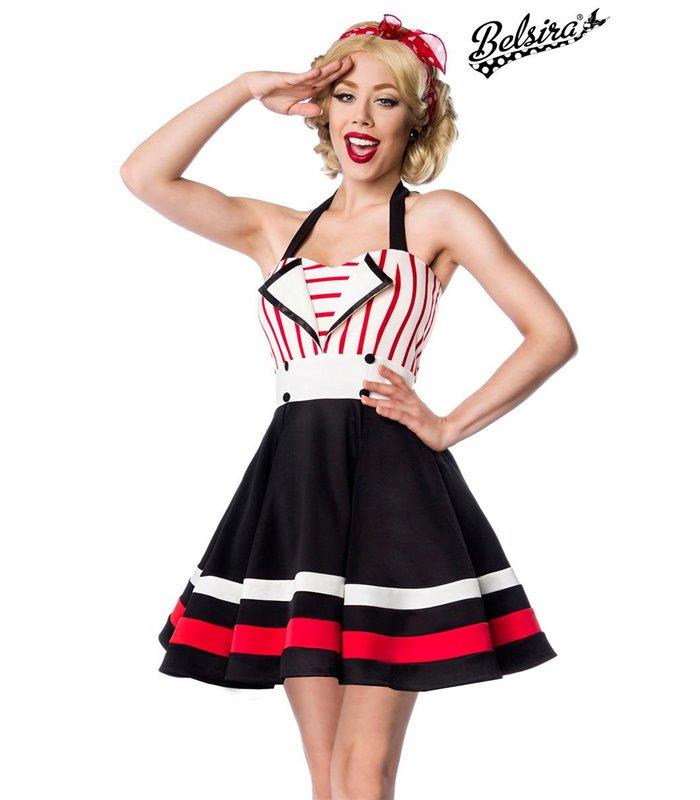 competitive price 56451 7c7c3 Belsira Neckholder-Kleid schwarz/weiß