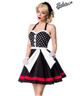 Belsira Neckholder Kleid schwarz/weiß/rot