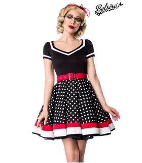 Belsira Kleid mit Gürtel schwarz/weiß/rot
