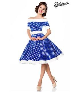 Belsira schulterfreies Swing-Kleid blau/weiss - midi Kleider