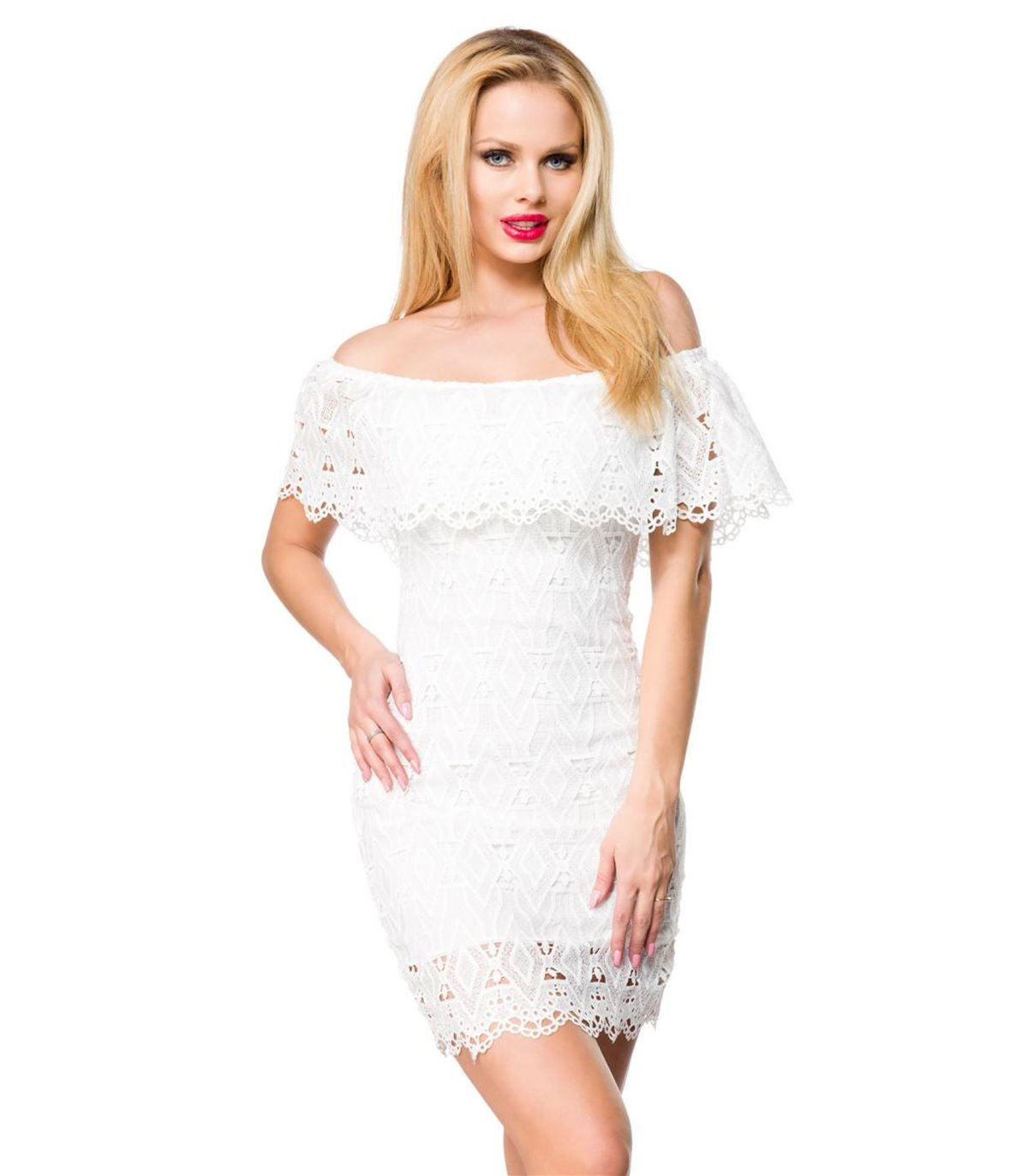 Atixo Spitzenkleid weiss - kurze Kleider online günstig kaufen