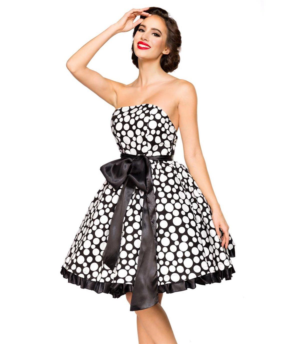 Belsira Vintage-Bandeau-Kleid schwarz/weiss - midi Kleider ...