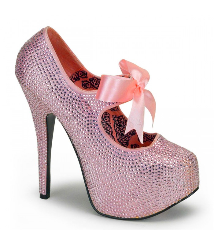 Strass High Heels TEEZE-04R - Baby Pink