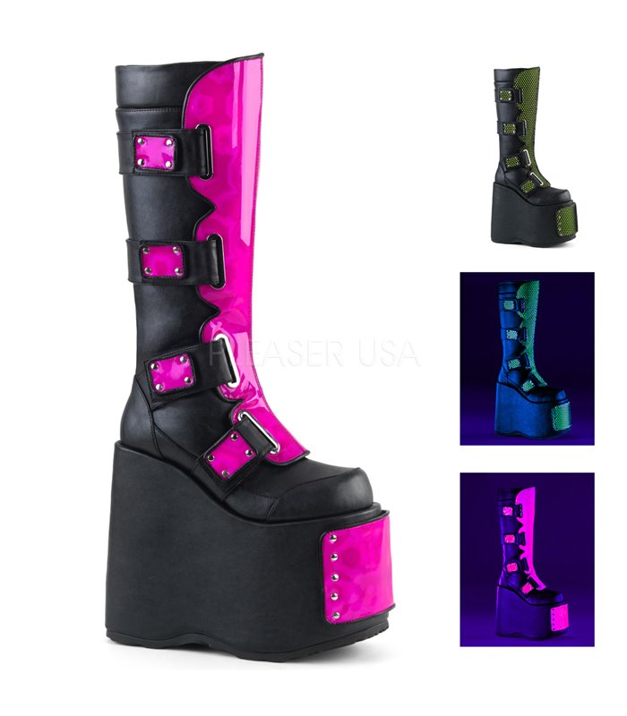 Demonia Plateau Stiefel SLAY-310 pink schwarz