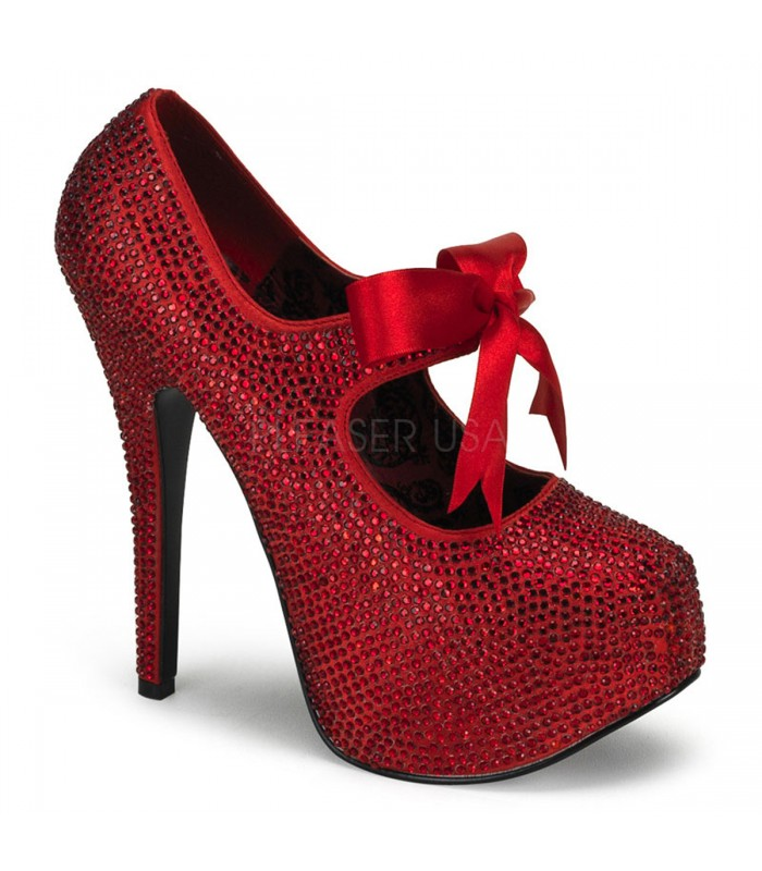 Strass High Heels TEEZE-04R - Rot