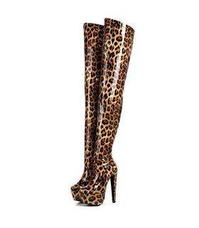 Giaro Destroyer 1004 Damen Herren Plateau Overknee Stiefel Leoparden Muster