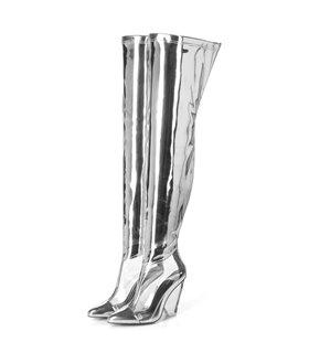 Giaro Overknee Stiefel Fascinate silber