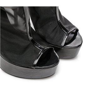 Giaro Dakota Damen Herren Unisex Plateau Stiefel schwarz mesh