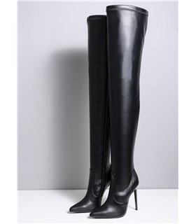 Ellie Tailor Doro schwarz matt Overknee-Stiefel Damen Herren Übergröße